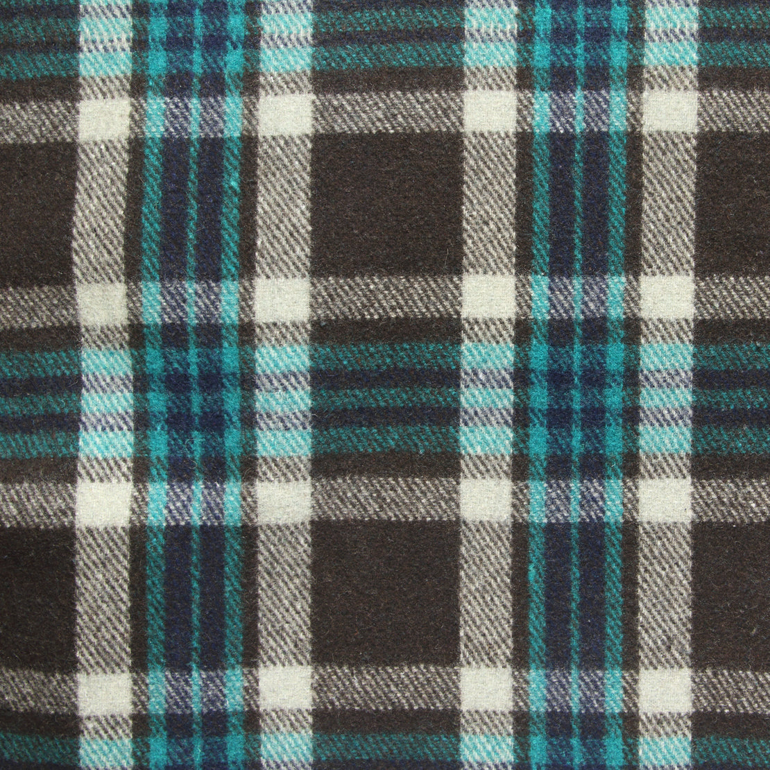 Vintage Indian Wool Plaid Blanket - Navy/White/Teal