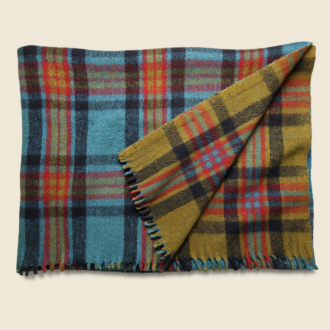 Vintage Vintage Indian Wool Plaid Blanket - Olive/Red/Teal