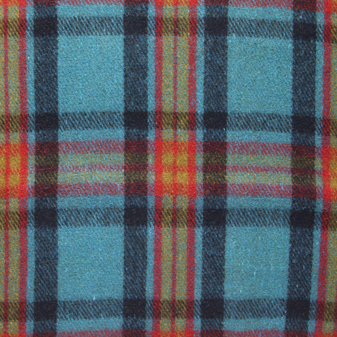 Vintage Indian Wool Plaid Blanket - Olive/Red/Teal