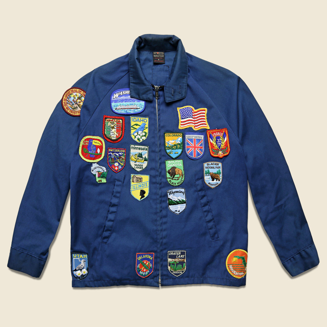 Vintage Barracuda-Style Jacket with Patches