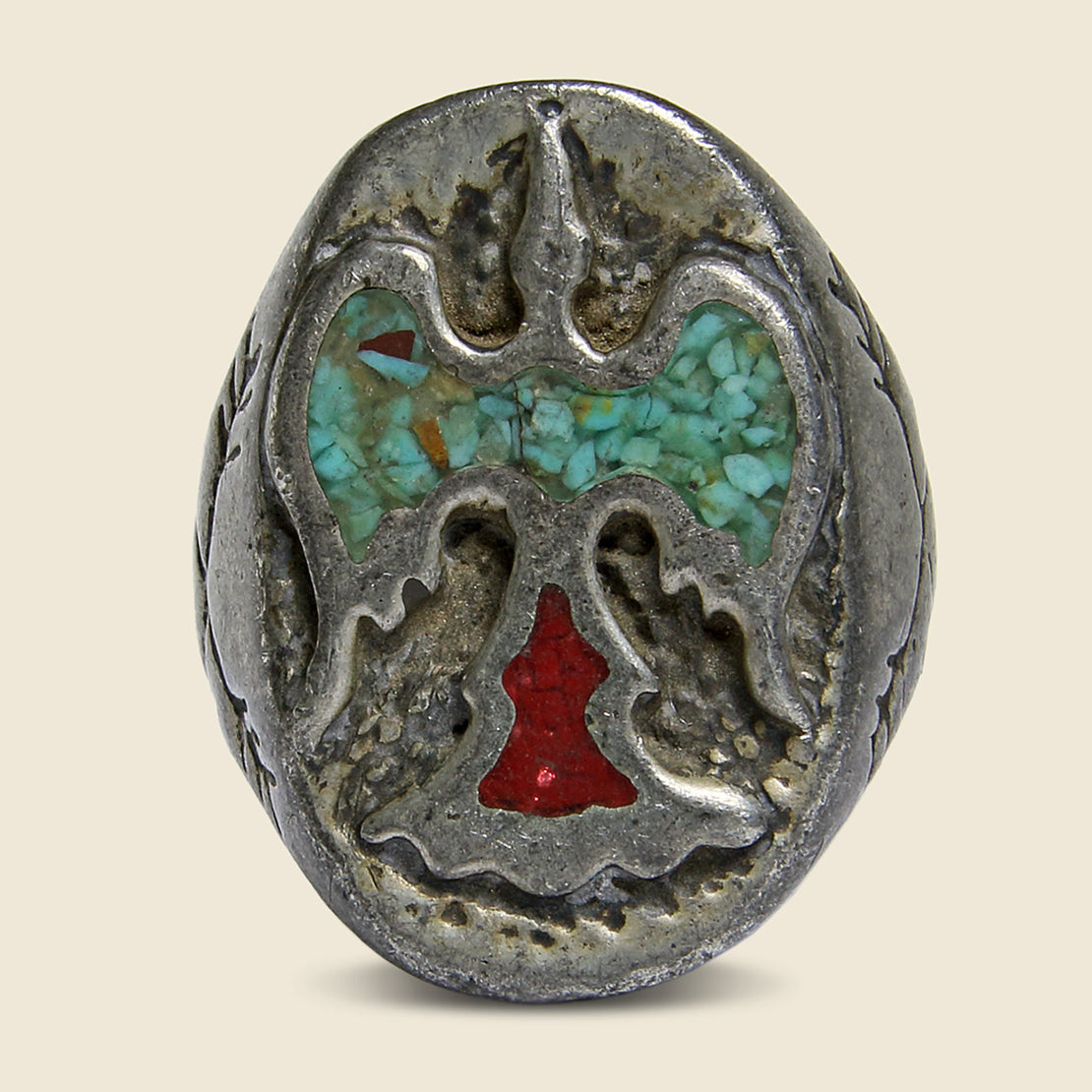Turquoise & Coral Eagle Ring - Vintage - STAG Provisions - Accessories - Rings