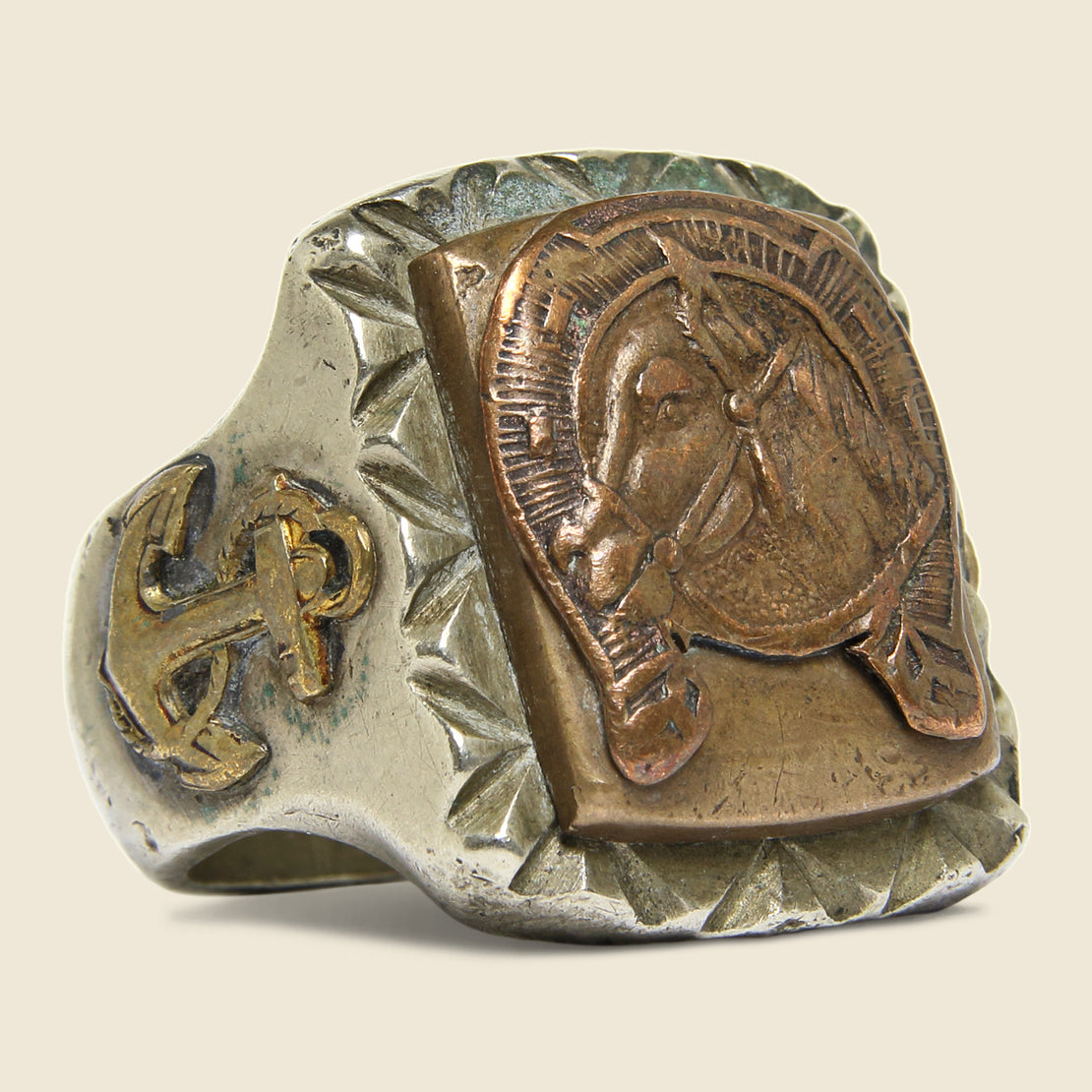 Vintage Horse in Horseshoe Mexican Biker Ring