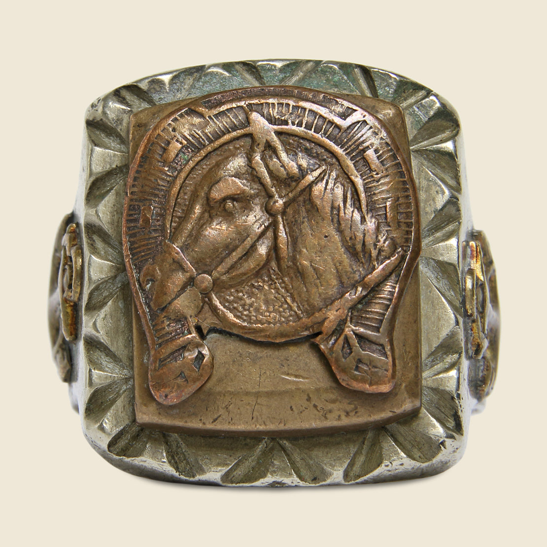 Horse in Horseshoe Mexican Biker Ring - Vintage - STAG Provisions - Accessories - Rings