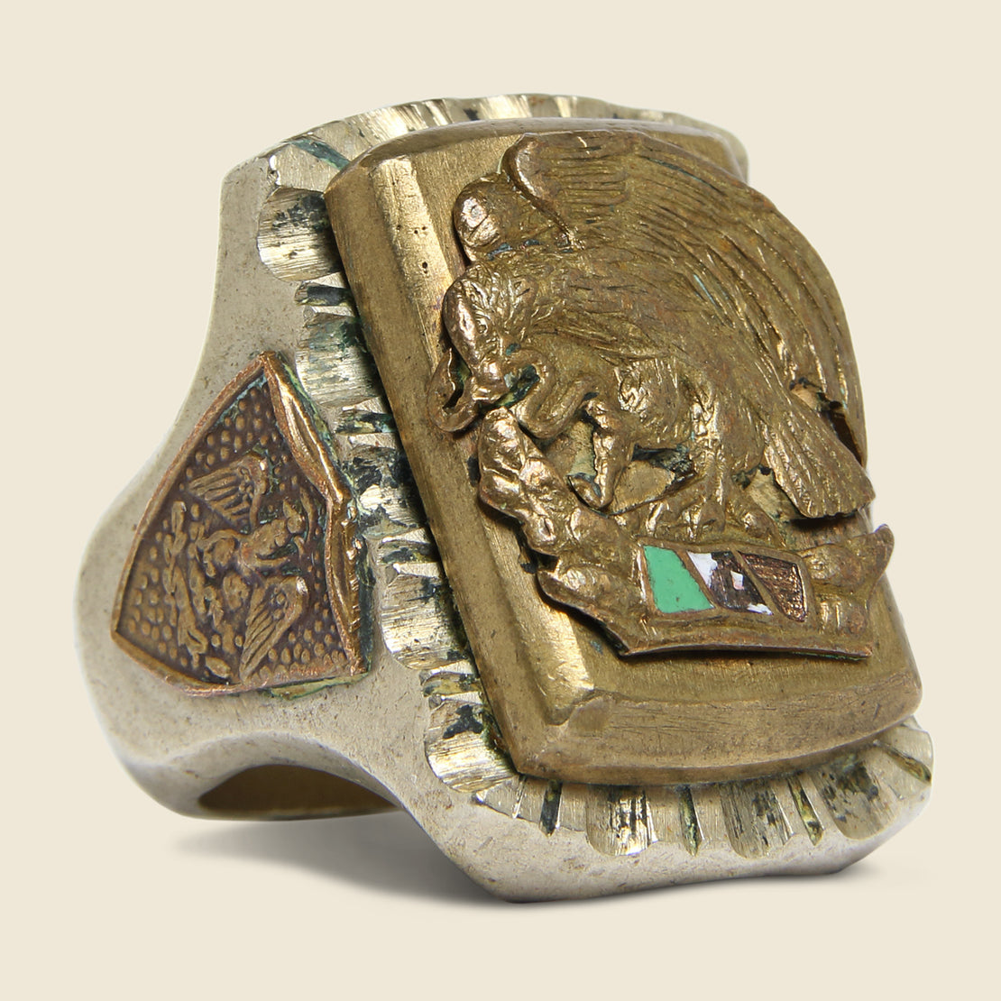 Vintage Mexican Flag Biker Ring