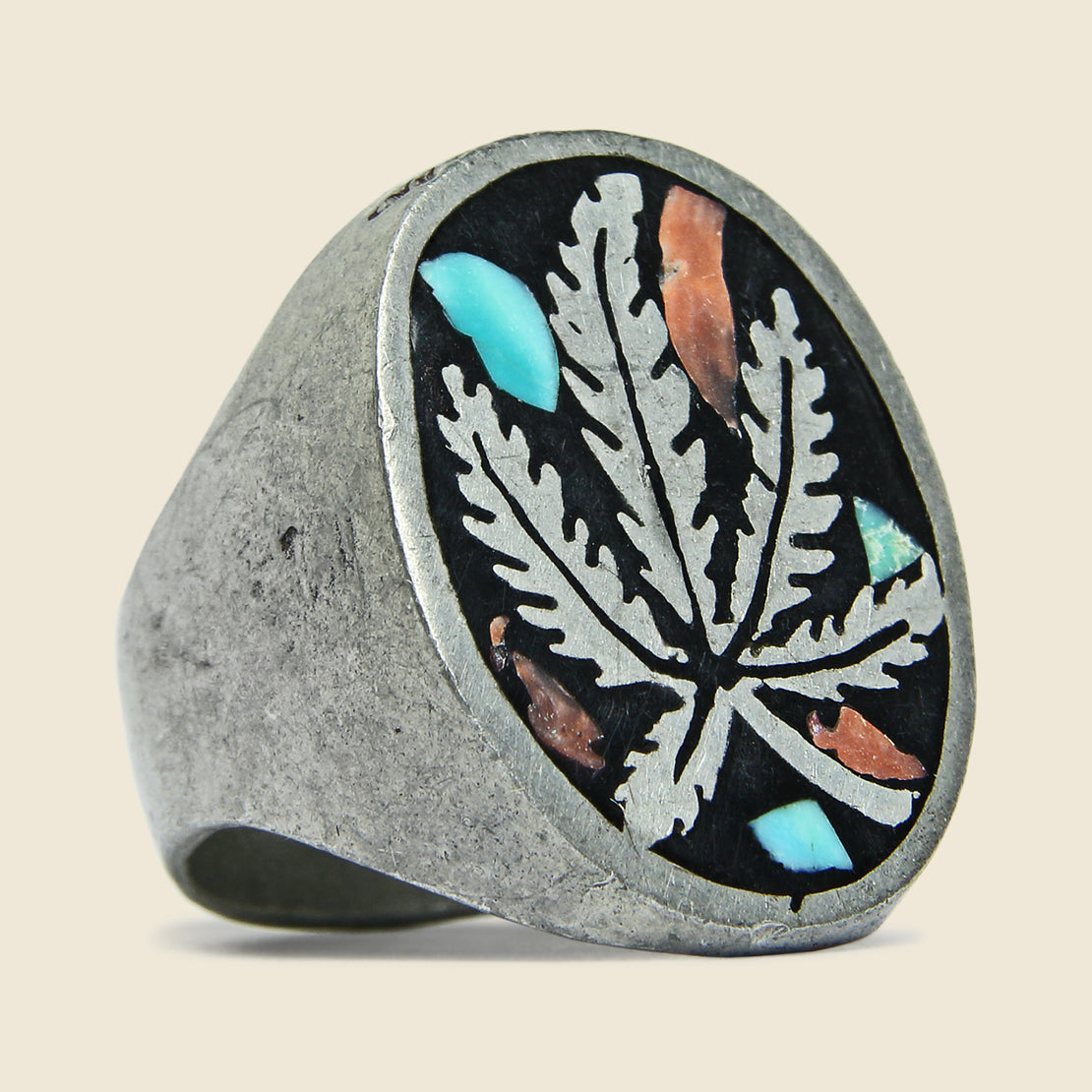 Vintage 1970s Turquoise & Coral Weed Ring