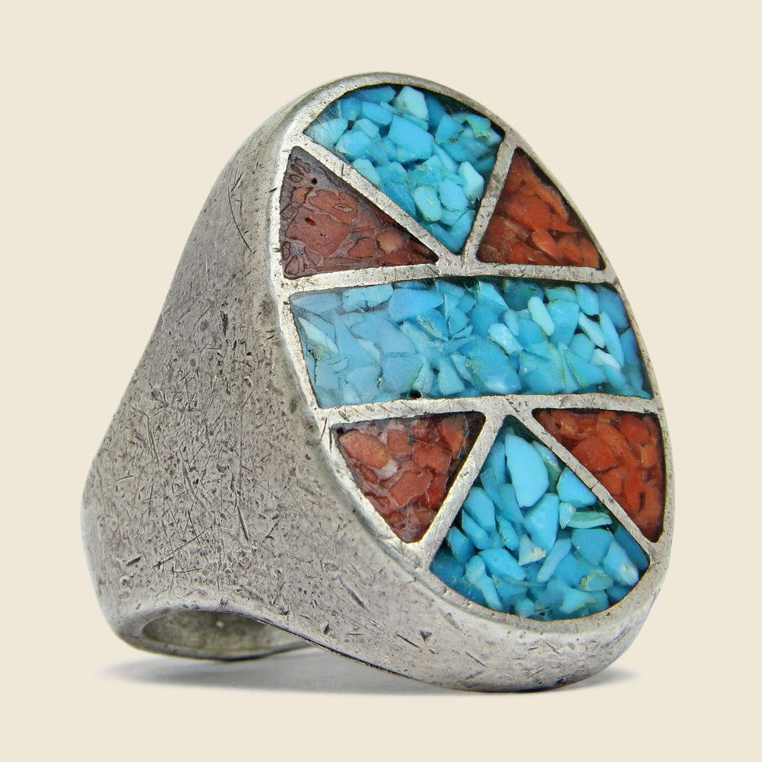 Vintage Sterling Silver Crushed Turquoise & Coral Inlay Oval Ring