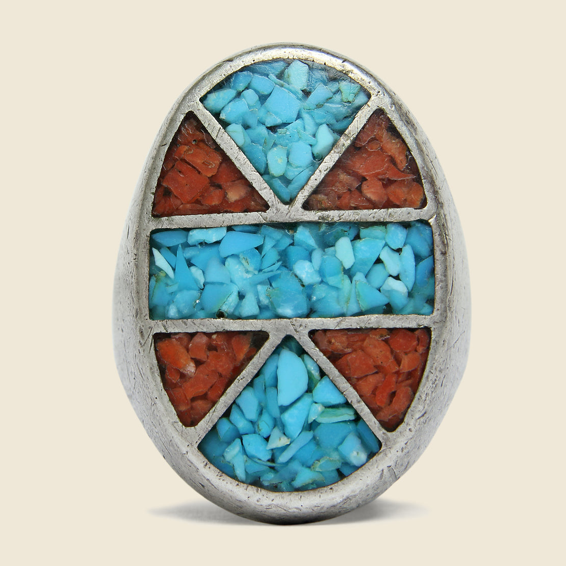 Sterling Silver Crushed Turquoise & Coral Inlay Oval Ring - Vintage - STAG Provisions - Accessories - Rings