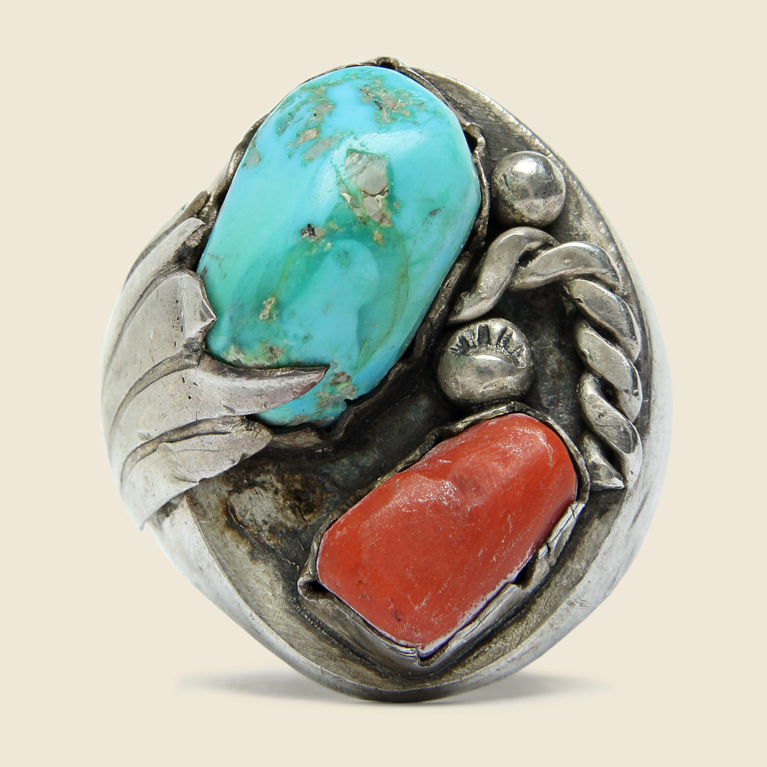 Vintage Turquoise & Coral Ring - Vintage - STAG Provisions - Accessories - Rings