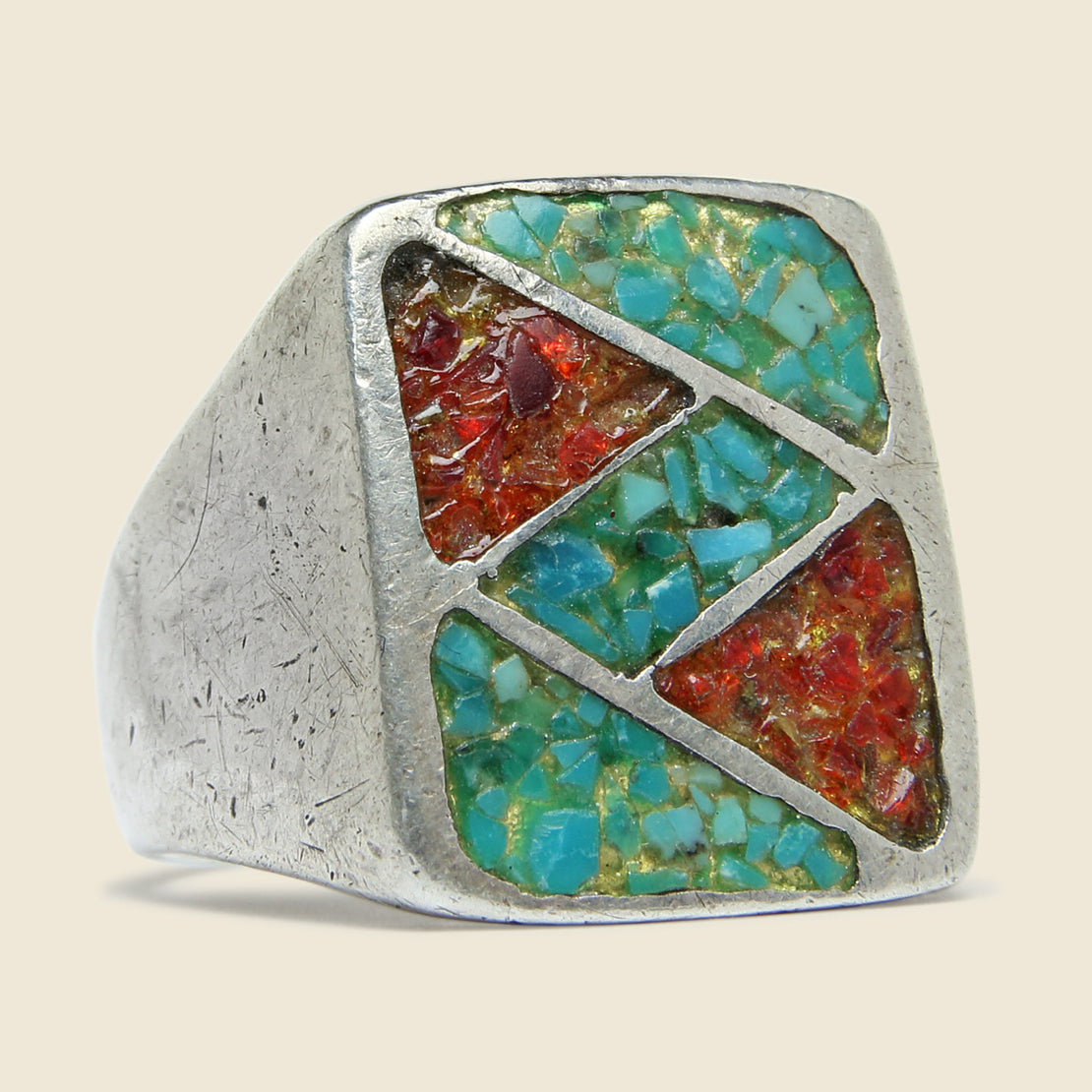 Vintage Sterling Silver Crushed Turquoise & Coral Inlay Rectangle Ring
