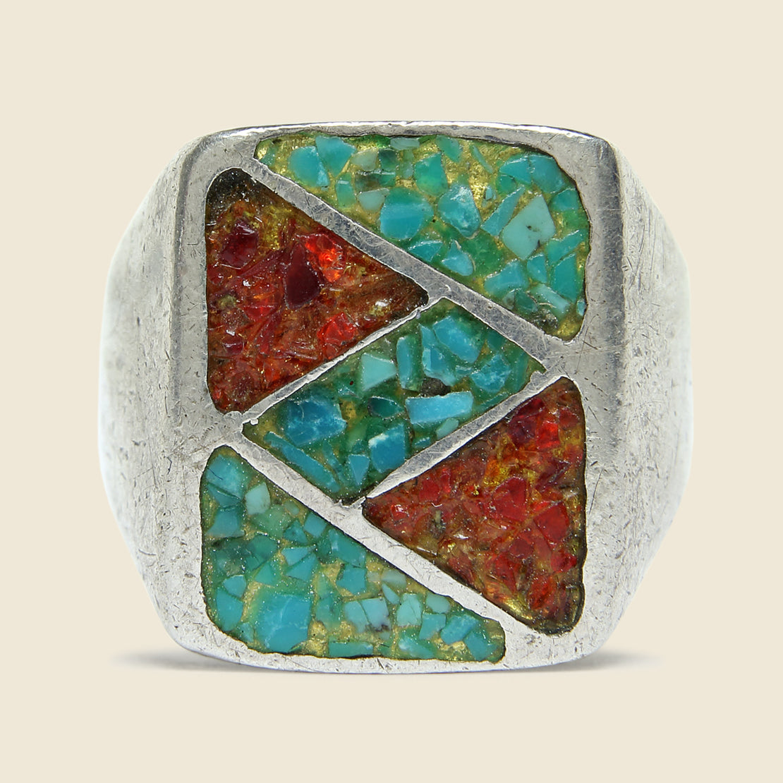 Sterling Silver Crushed Turquoise & Coral Inlay Rectangle Ring - Vintage - STAG Provisions - Accessories - Rings