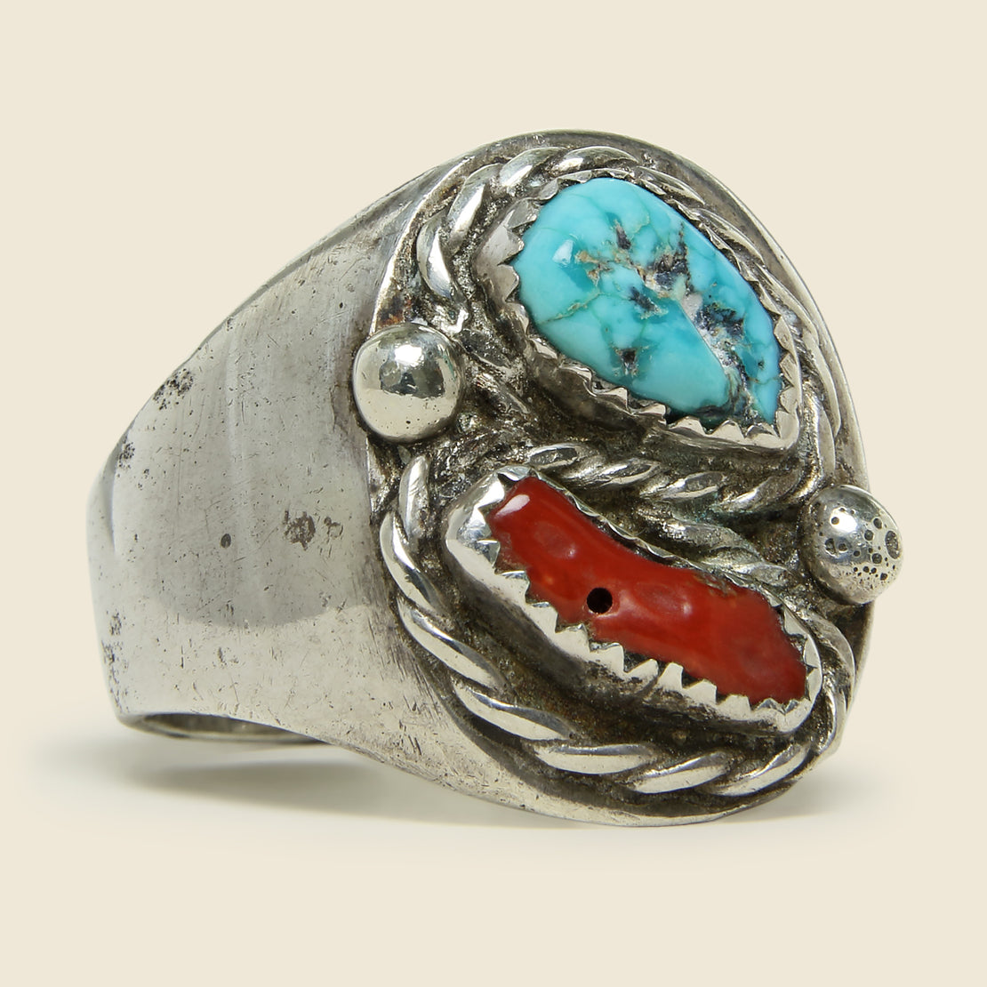 Vintage Turquoise & Coral Silver Ring