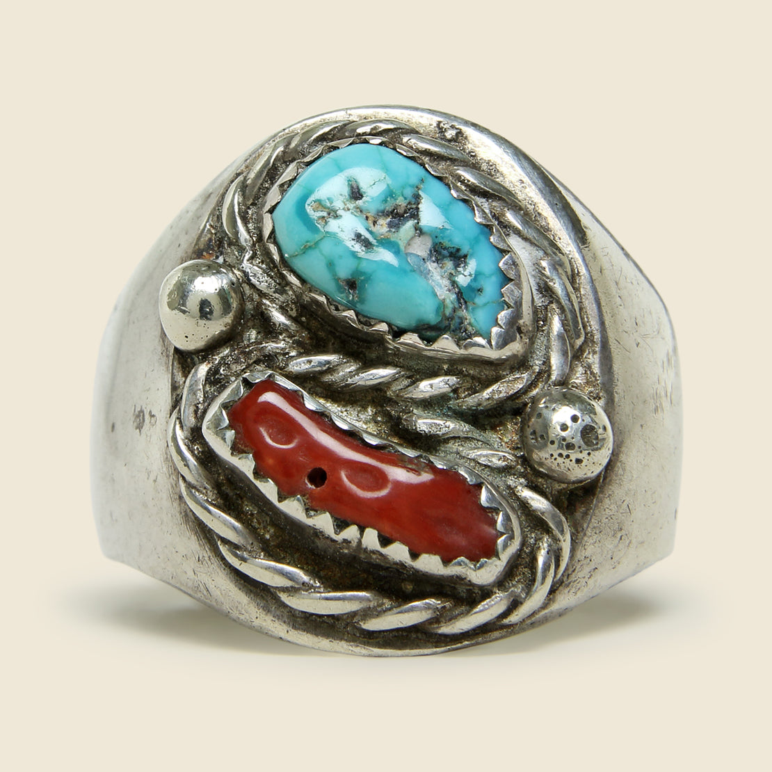 Turquoise & Coral Silver Ring - Vintage - STAG Provisions - One & Done - Jewelry
