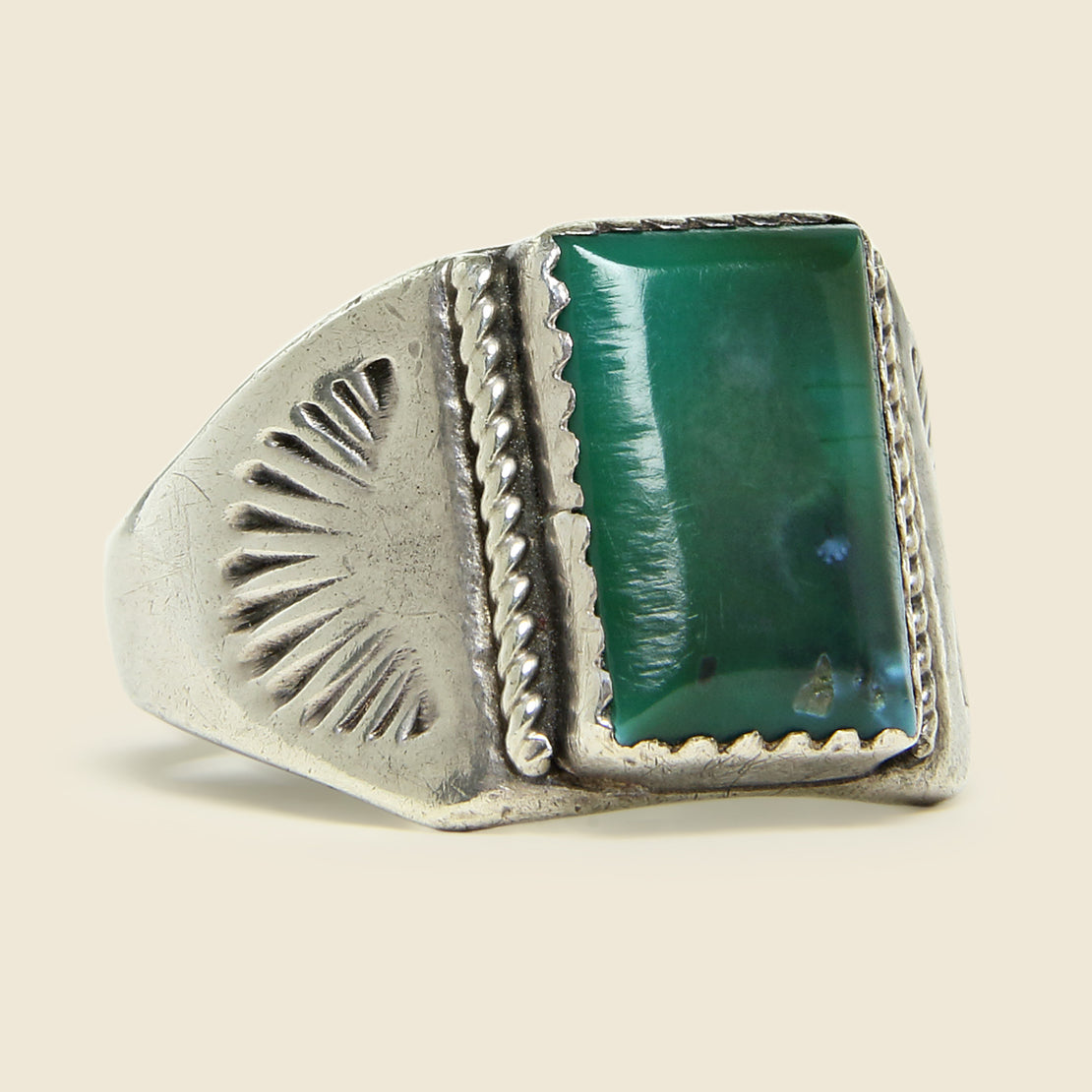 Vintage Green Turquoise Silver Ring