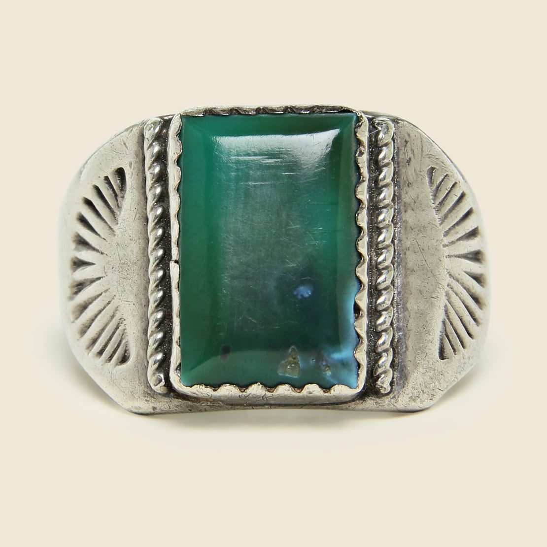 Green Turquoise Silver Ring - Vintage - STAG Provisions - One & Done - Jewelry
