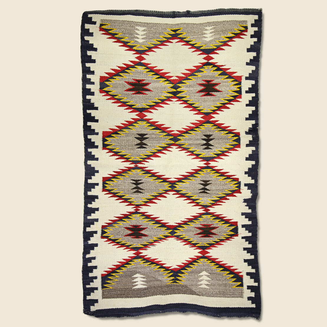 Vintage Vintage Hand-Woven Navajo Rug  - Yellow, Red, & Navy Eye Dazzler Pattern