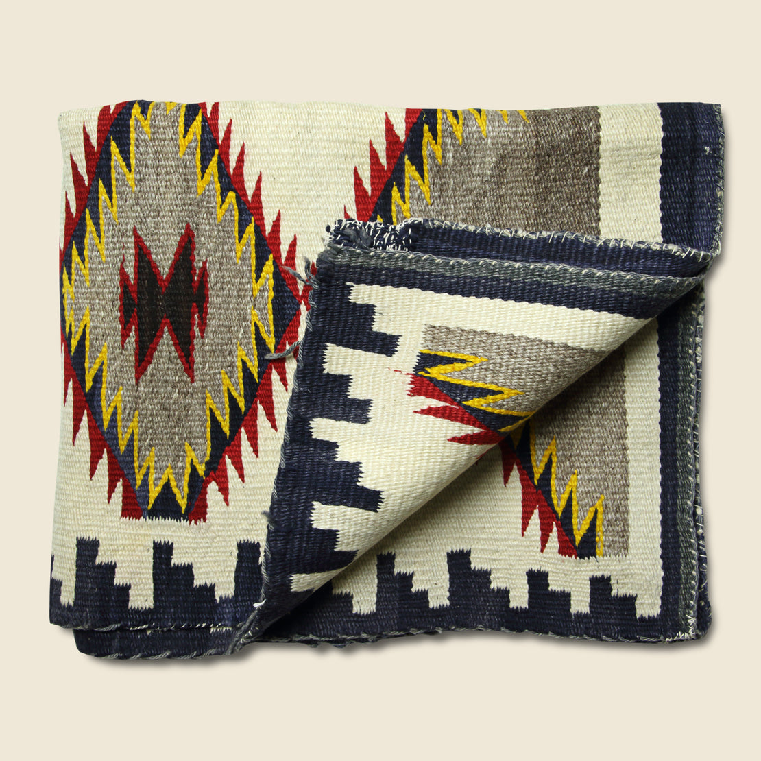 Vintage Hand-Woven Navajo Rug  - Yellow, Red, & Navy Eye Dazzler Pattern