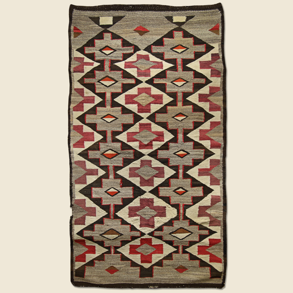 Vintage Hand Woven Navajo Rug - Red Center Cross Design