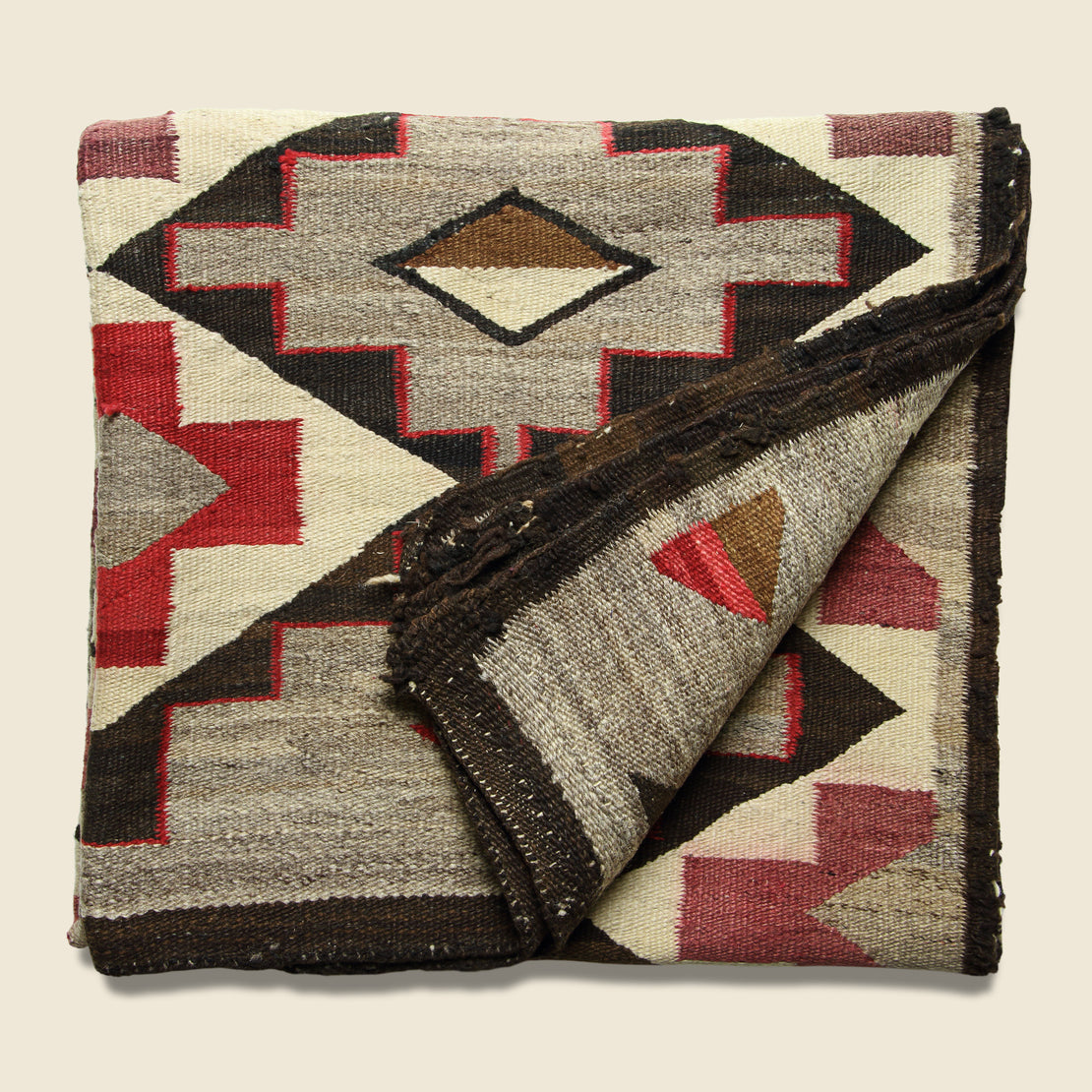 Hand Woven Navajo Rug - Red Center Cross Design - Vintage - STAG Provisions - One & Done - Rug