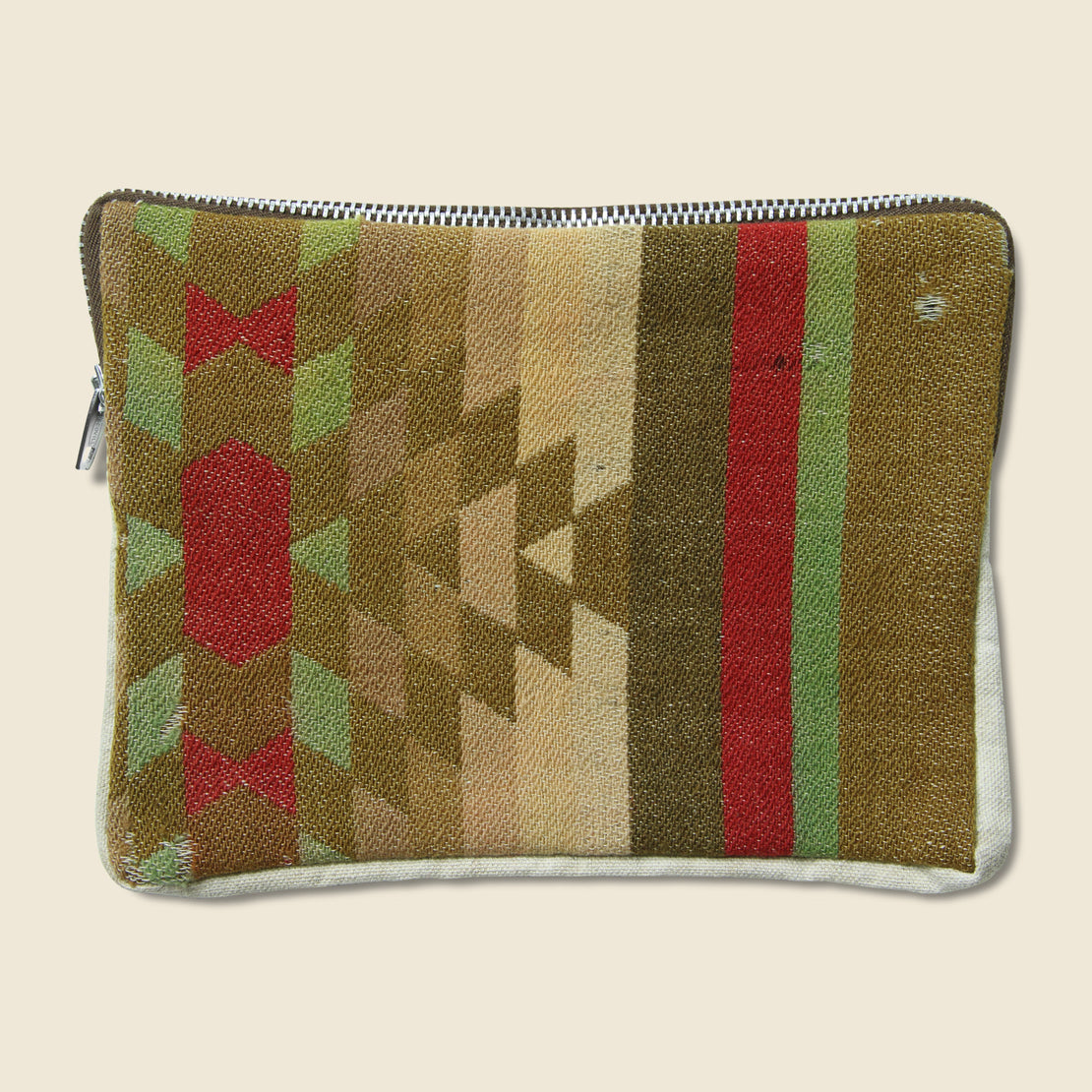 Tart Vintage Vintage Zipper Pouch - Red, Sage & Brown