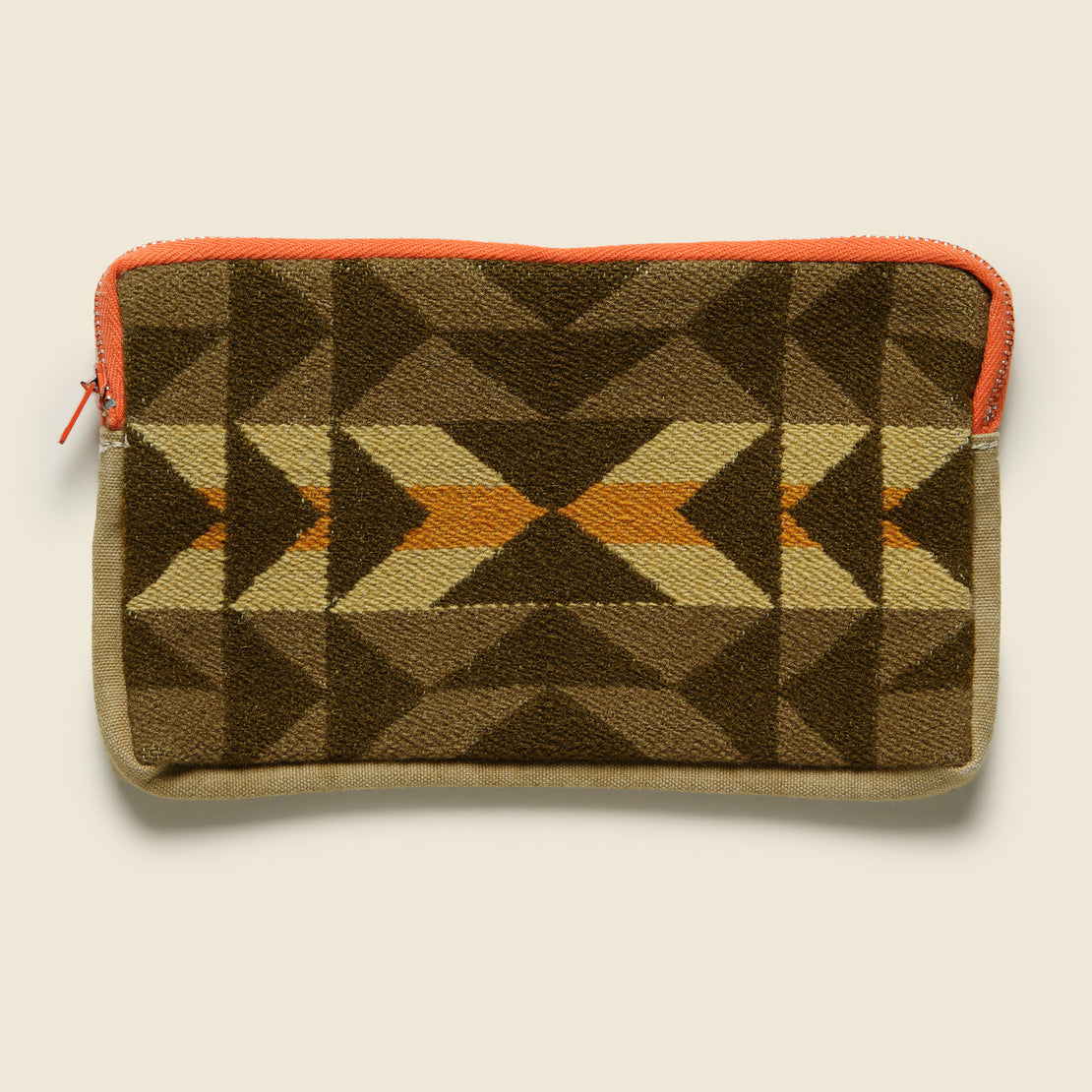 Vintage Zipper Pouch - Orange/Brown/Tan