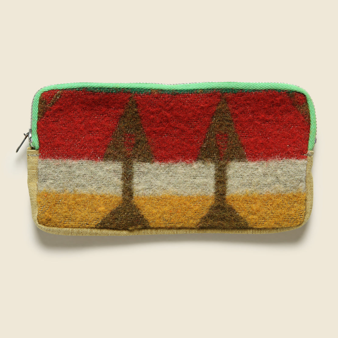 Vintage Zipper Pouch - Orange/Red/Green