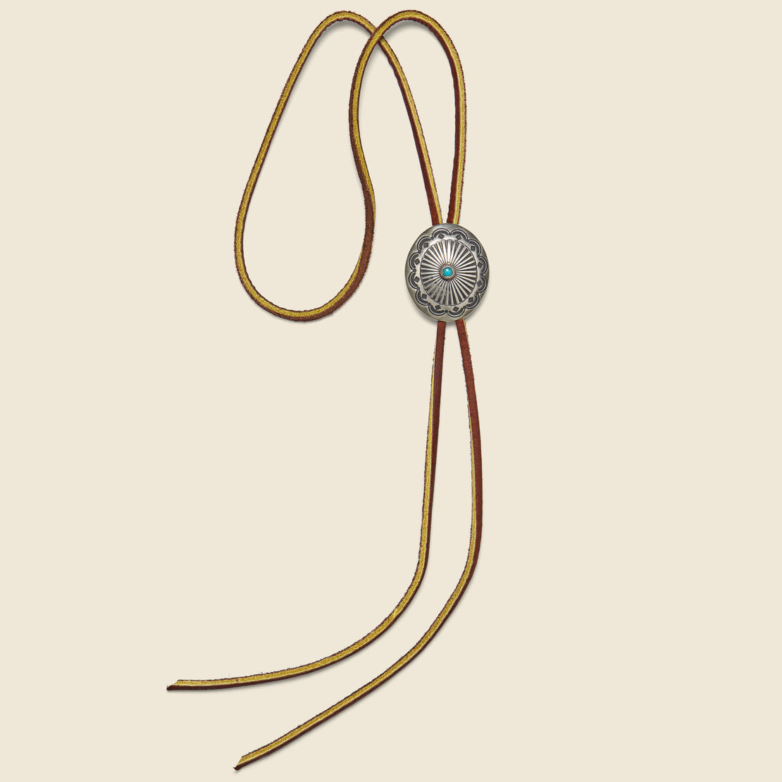 Yuketen Carved Concho Bolo Tie - Brown/Leather