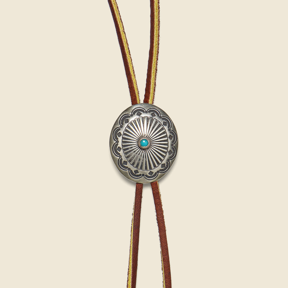 Carved Concho Bolo Tie - Brown/Leather