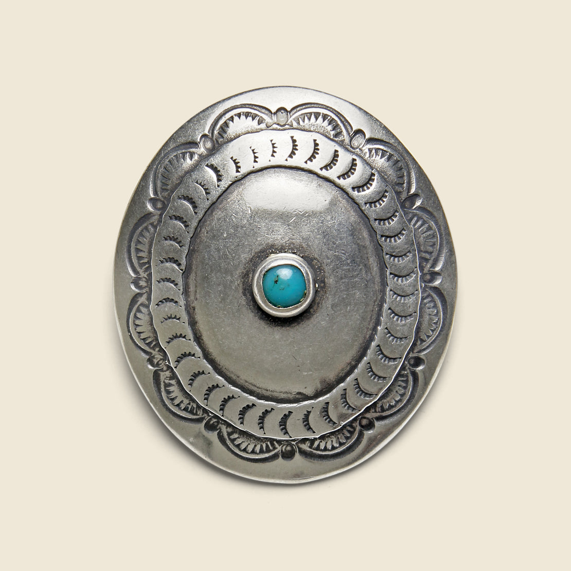 Yuketen Stamped Oval Concho Pin - Silver/Turquoise