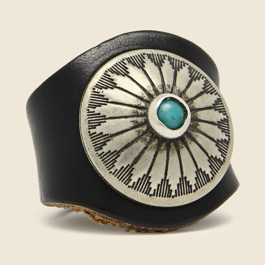 Leather Concho Ring - Turquoise/Black