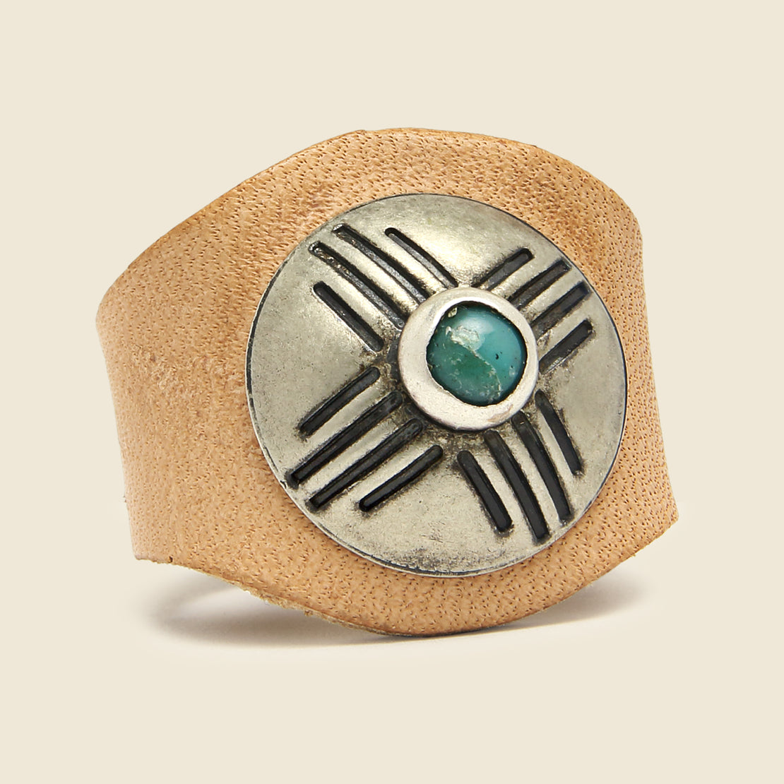 Leather Concho Ring - Turquoise/Tan