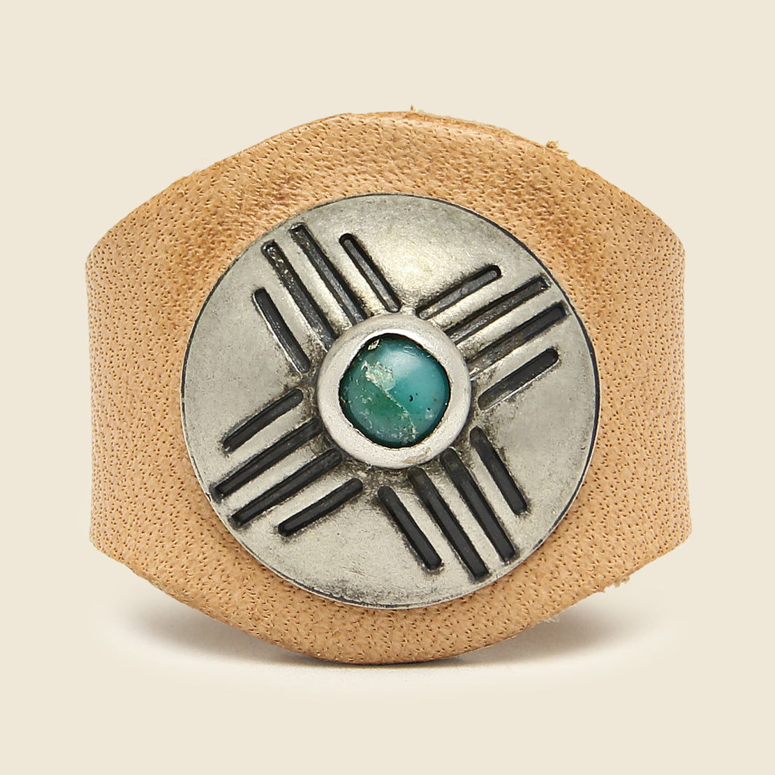 Yuketen Leather Concho Ring - Turquoise/Tan