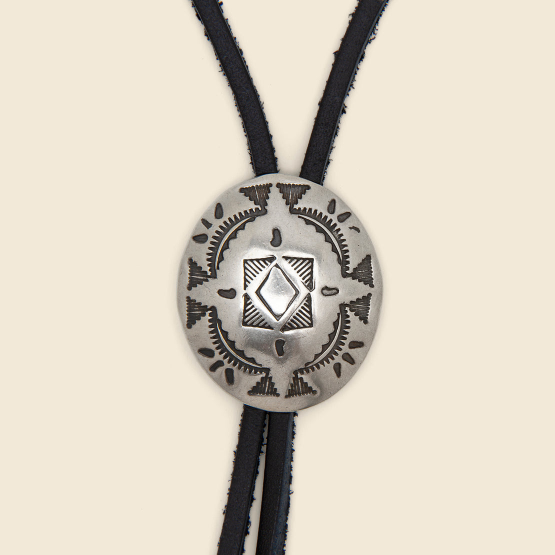 Leather Bolo Tie - Nickel Silver/Leather