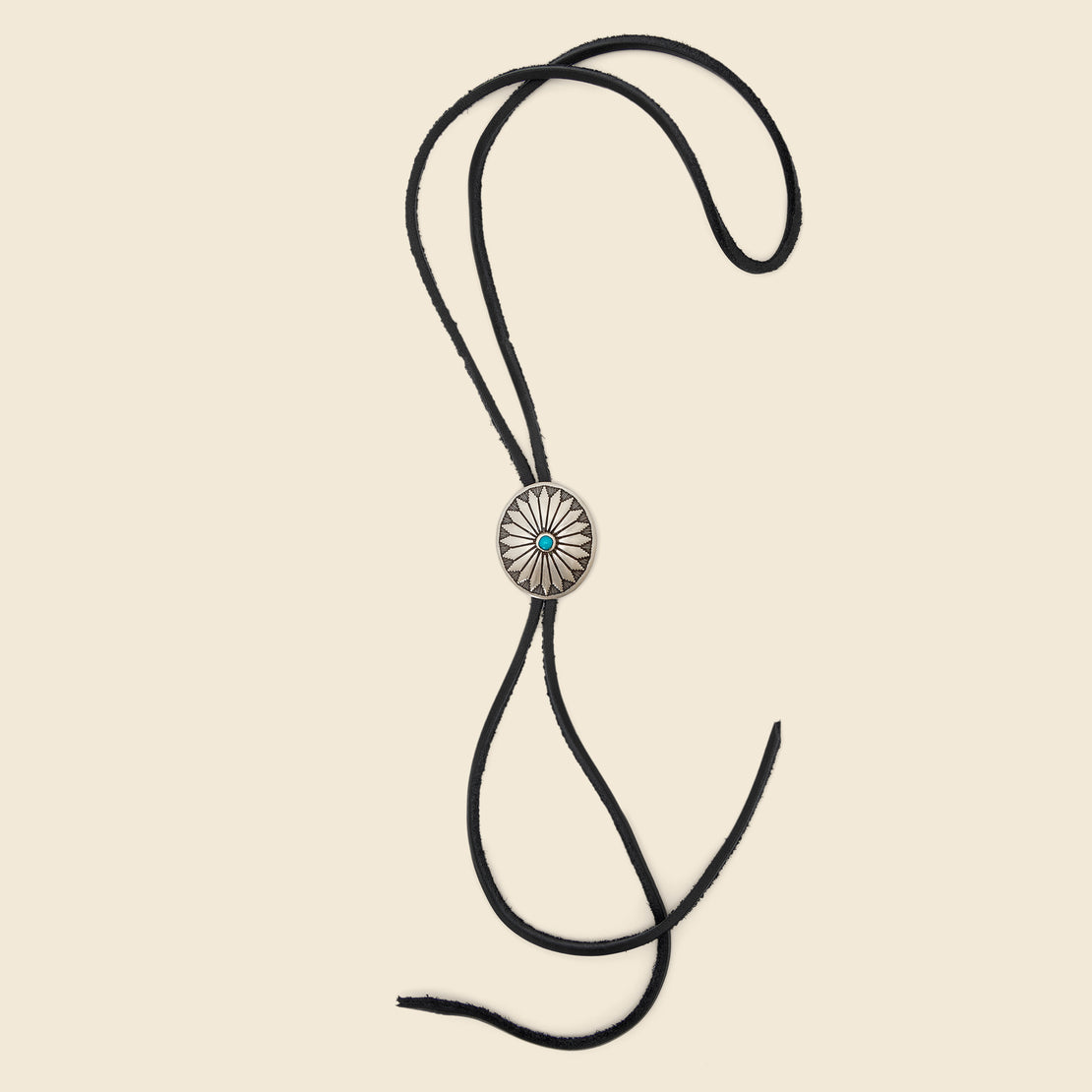 Yuketen Leather Bolo Tie with Concho - Black & Turquoise Flower