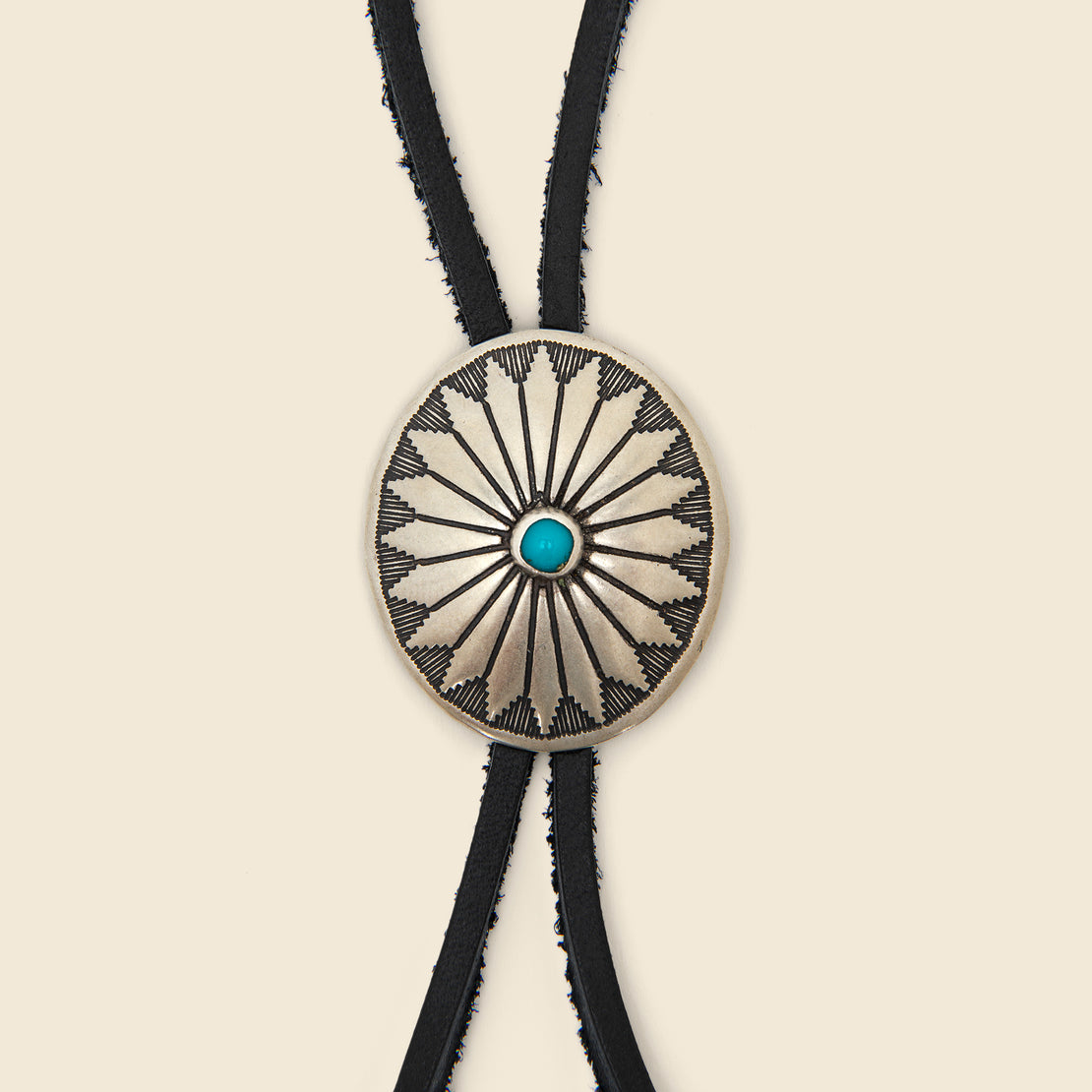 Leather Bolo Tie with Concho - Black & Turquoise Flower