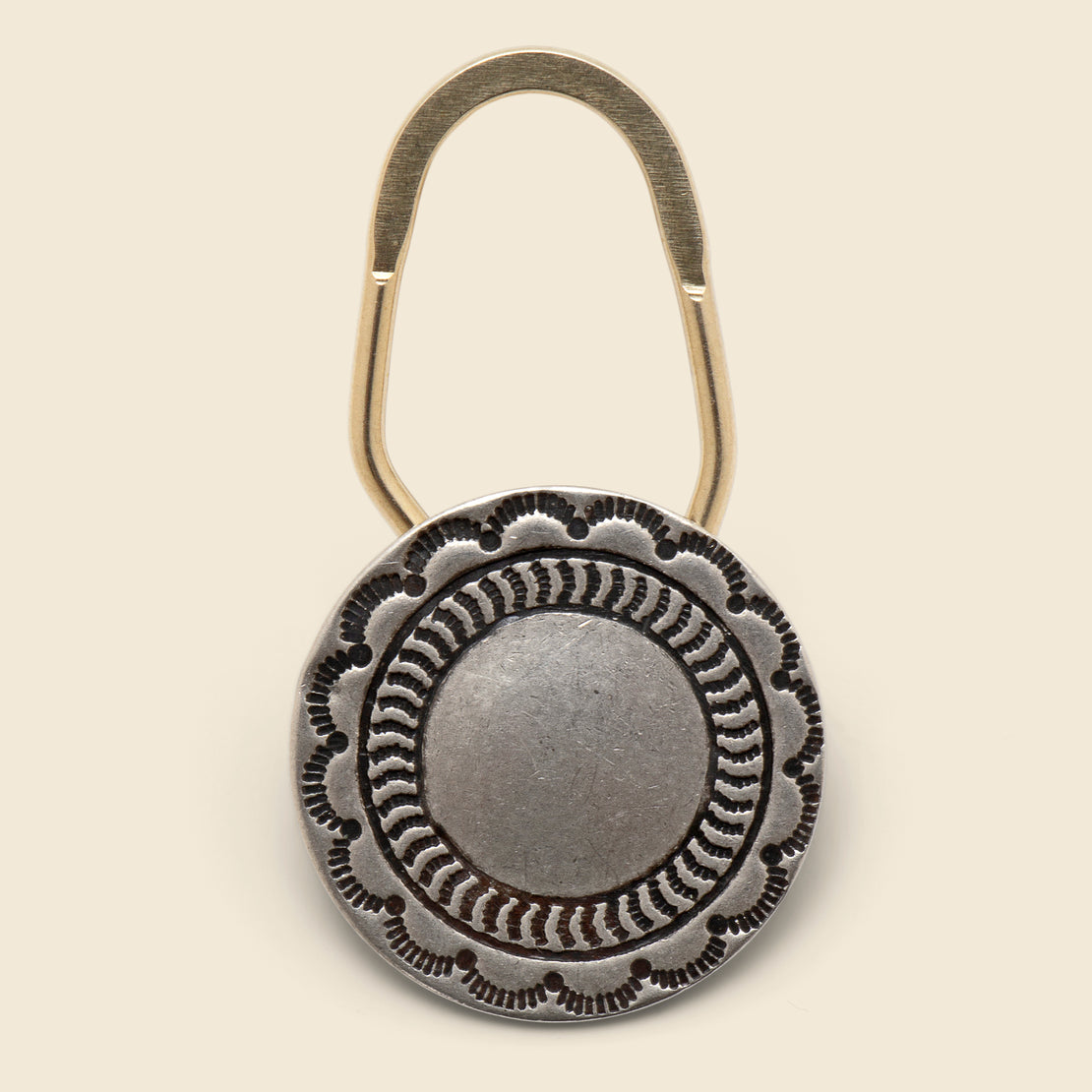 Yuketen Concho Key Chain Round Smooth Center - Nickel Silver