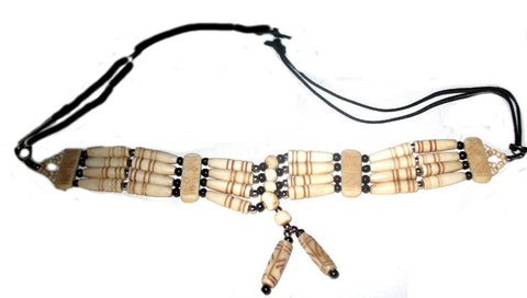 Hand Crafted Bone Choker Necklace Buffalo Bone Hairpipes