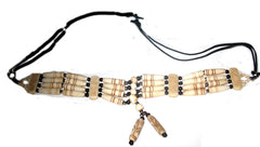 Hand Crafted Buffalo Hair Pipe Bone Choker Necklace 4 lines rows strands with a nice center piece