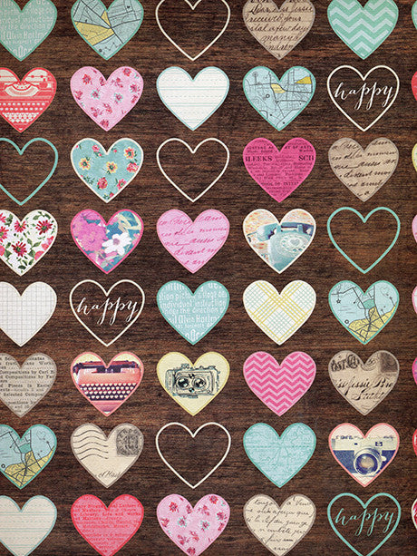 Vintage Hearts Printed Photography Backdrop / 428 - DropPlace