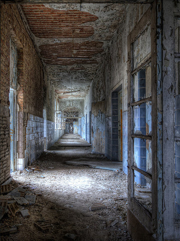 Printed Photo Backdrop Abandoned Hallway Background Photography Background / 745 - DropPlace