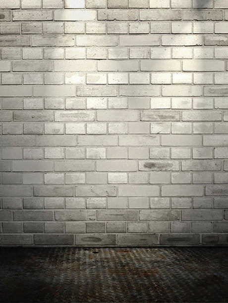 White Brick, Metal Floor Photography Background / 048