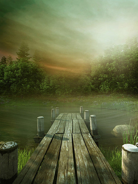 Foggy Dock I Photo Backdrop / 1036 - DropPlace
