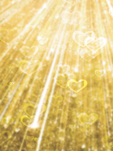 Golden Hearts Bokeh Photo Background / 1456 - DropPlace