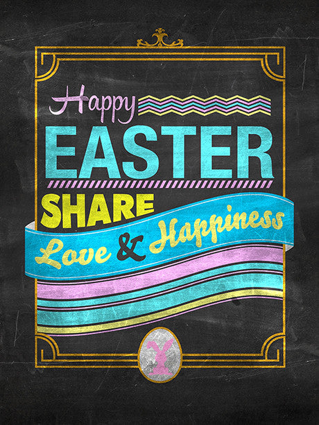 Easter Chalkboard Blue Type Printed Photo Background / 1484 - DropPlace