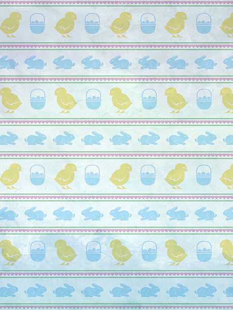 Easter Chicks and Bunnies Photo Backdrop / 2130