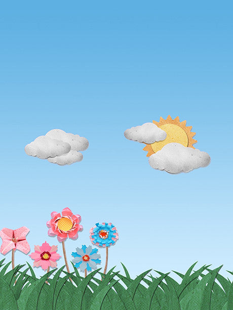 Scenic Sun and Flowers with Gray Clouds Cut Outs Photo Background / 2169 - DropPlace
