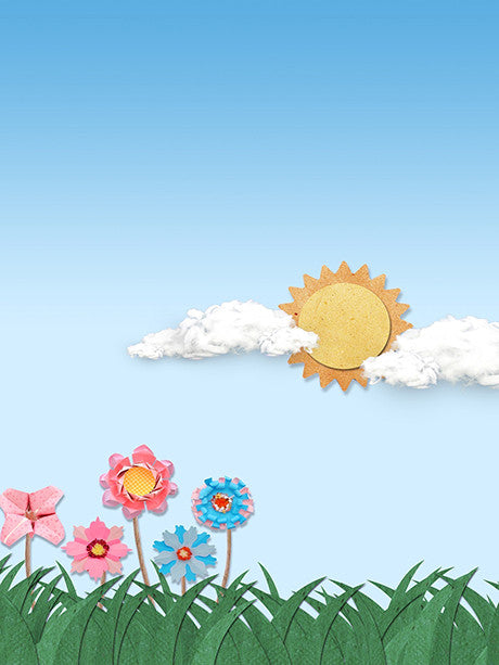 Scenic Sun and Flowers Cut Outs Photography Backdrop / 2170