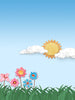 Scenic Sun and Flowers Cut Outs Photography Backdrop / 2170 - DropPlace