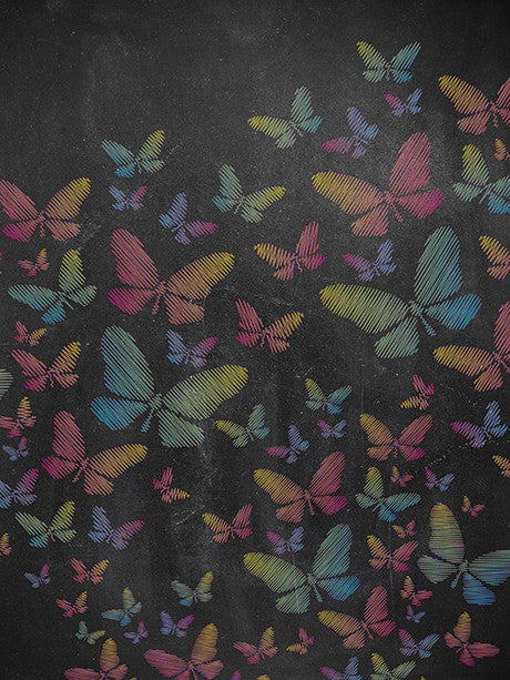 Colorful Chalk Butterflies Photography Backdrop / 2205 - DropPlace