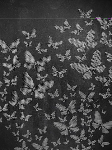 White Chalk Butterflies Printed Photo Backdrop / 2206 - DropPlace