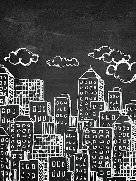 Chalkboard City Photo Backdrop / 2367 - DropPlace